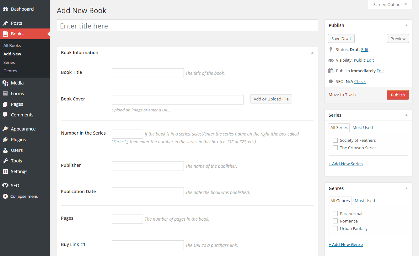 "The ""add new book"" interface in the Novelist plugin"