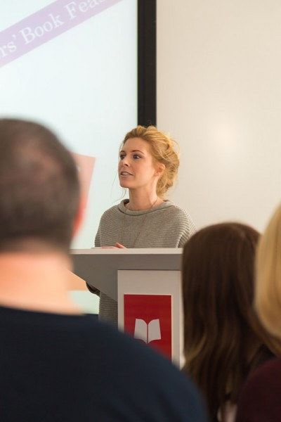 The publicity manager for Scholastic UK addressing bloggers