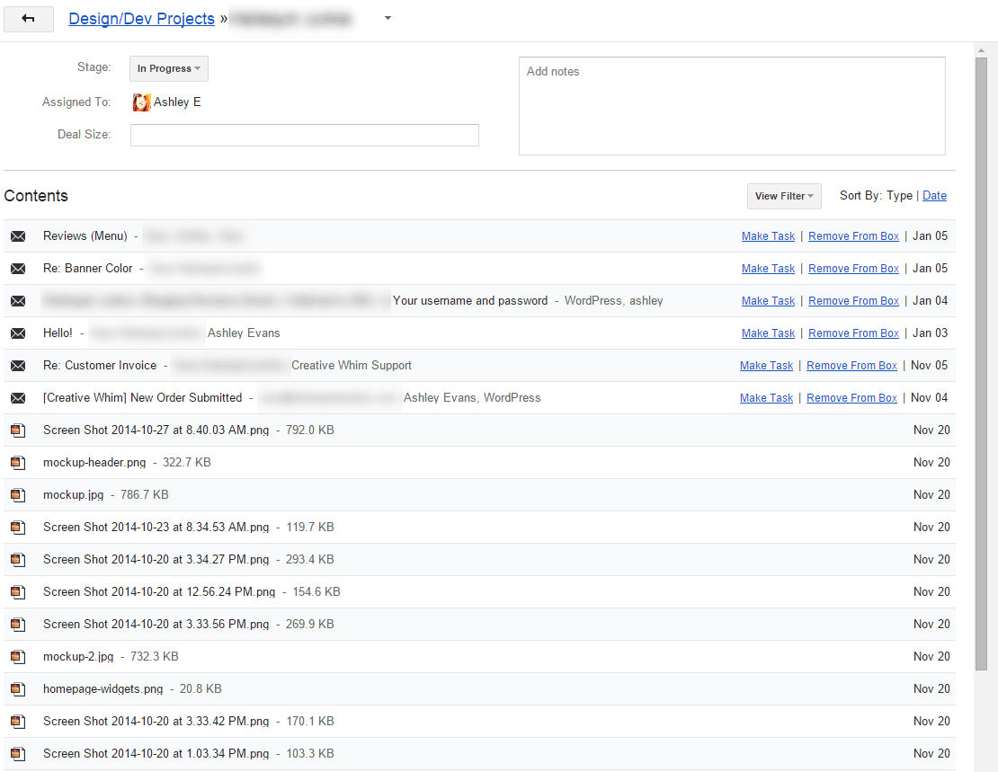 Emails and assets inside a Streak project box