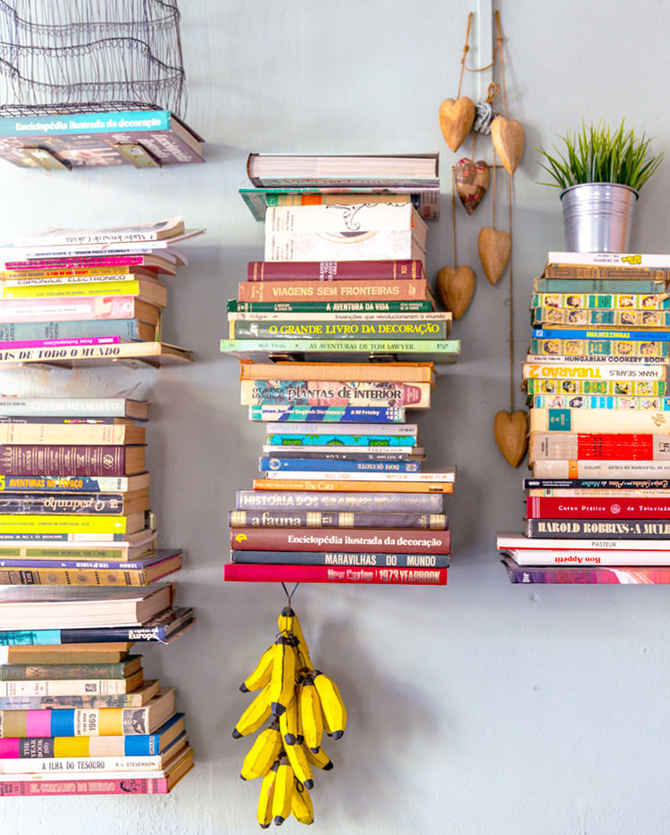 Books on the wall and bananas