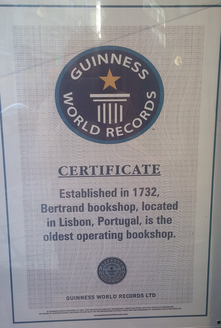 The Guinness World Record for the oldest operating bookshop, located in Lisbon