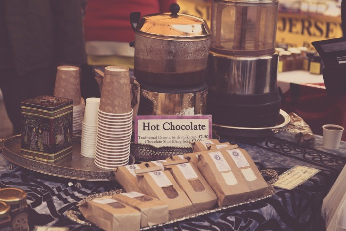 A stand selling home made hot chocolate