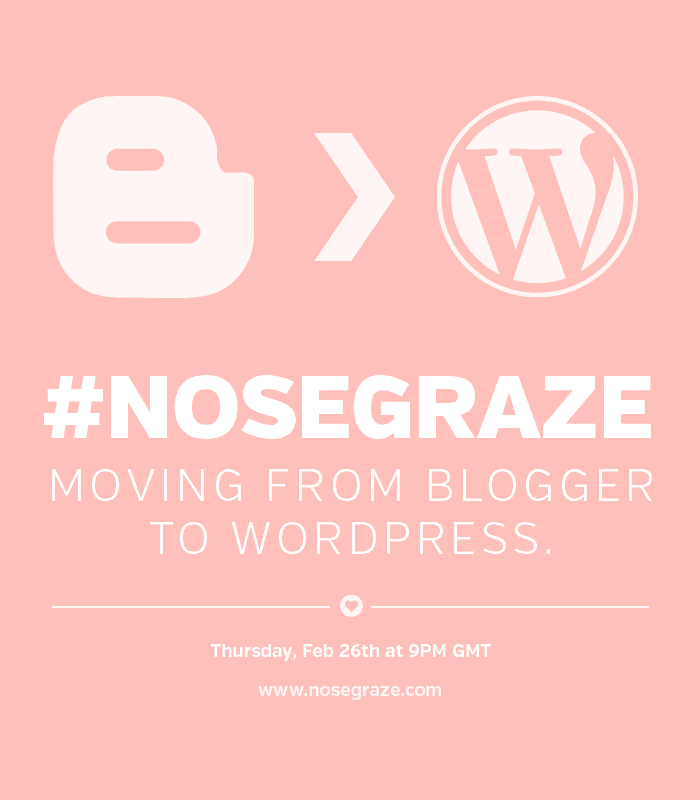#nosegraze Twitter Chat: Moving from Blogger to WordPress