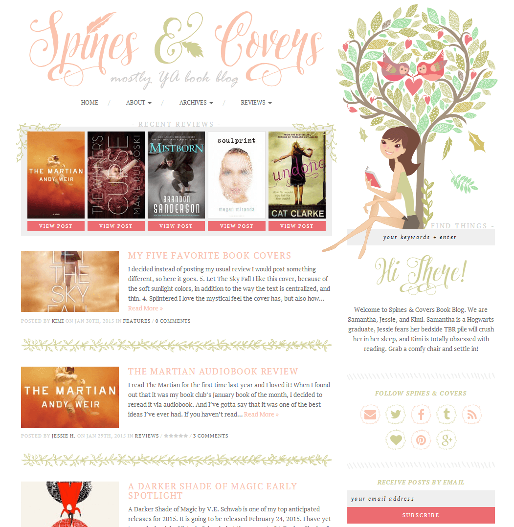 Blog design for Spines & Covers