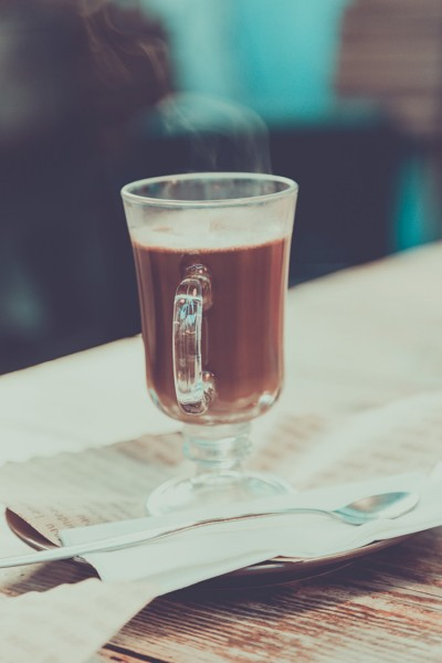 A steaming glass of pure, liquid chocolate
