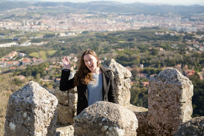 A photo of me waving on top of the castle