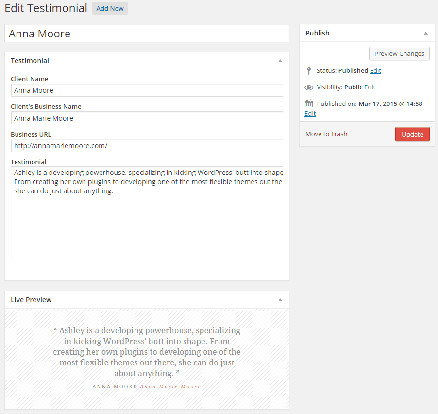 The admin panel where you can add a testimonial and see a live preview