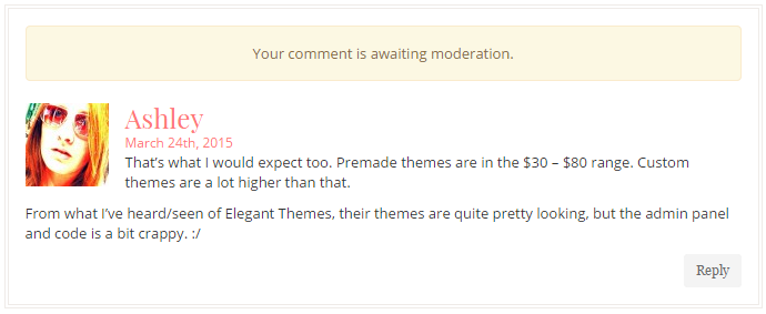 WordPress comment moderation message using Bootstrap styles