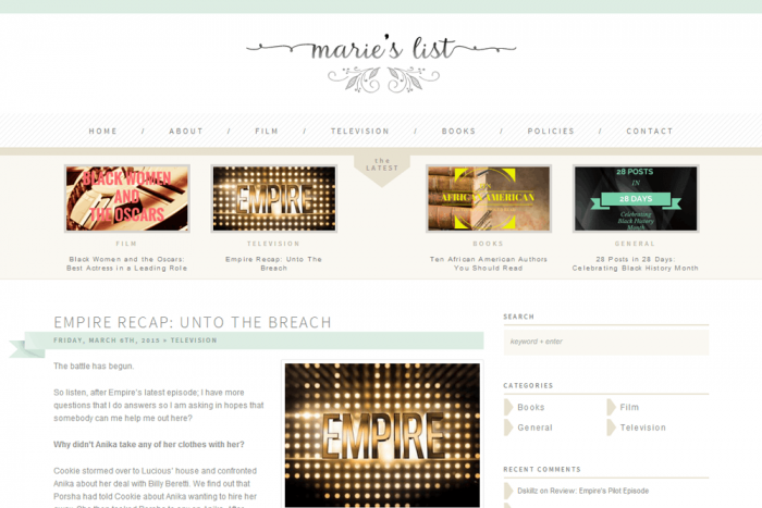 Marie's List blog design