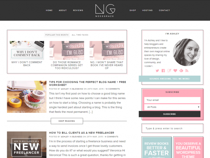 The old blog design for Nose Graze