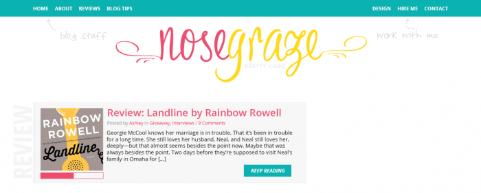 A blog design mockup with bright blue, pink, and yellow colours