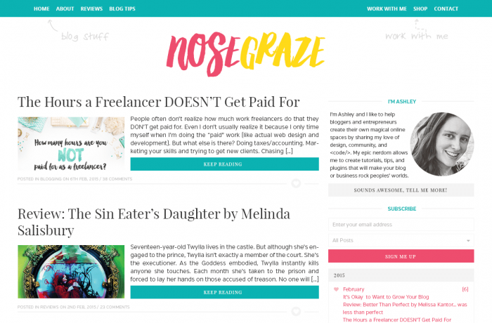A re-imagining of the previous blog design with the same bright blue, pink, and yellow colours