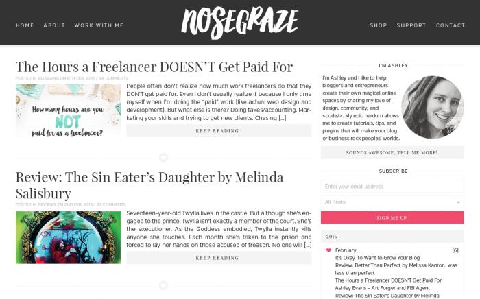 A black and white blog design for Nose Graze