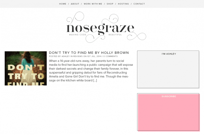 """A clean design that uses pink and grey and the font """"Santis"""""""