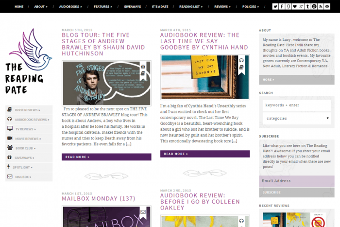 Magazine-style blog design for The Reading Date