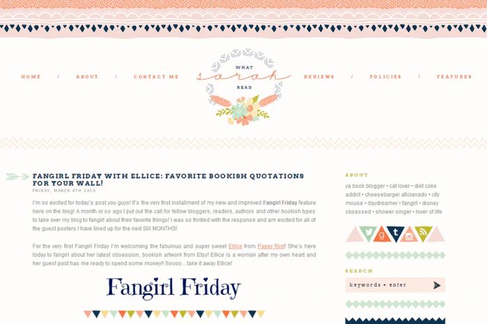 Tribal blog design for What Sarah Read