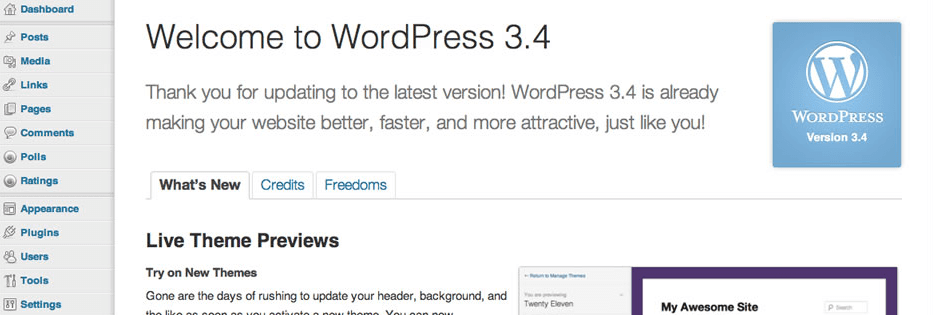 WordPress 3.4 interface