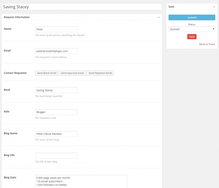 A screenshot showing how you can view, manage, and edit ARC requests in the admin panel