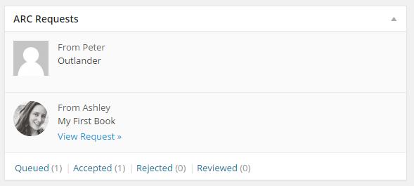 An admin dashboard widget that shows recent ARC requests