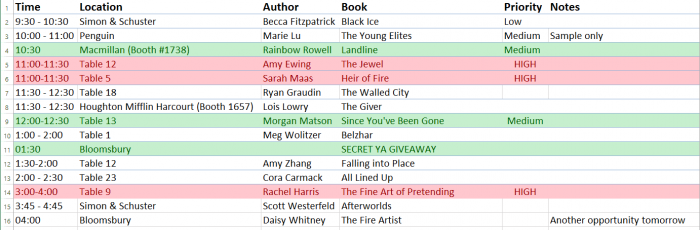 A spreadsheet of author signings for BookExpo America 2014