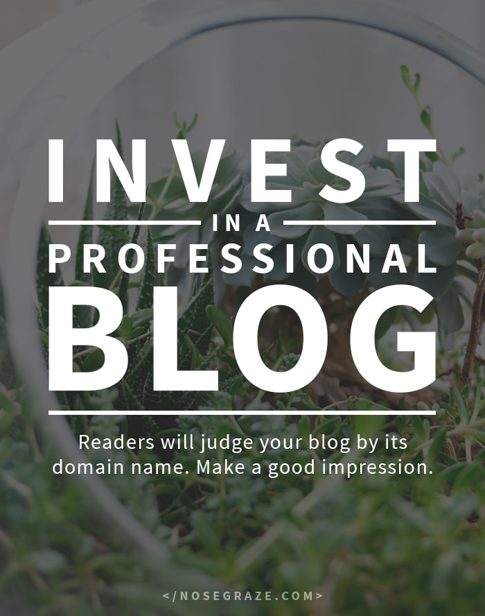 Invest in a professional blog. Readers will judge a blog by its domain name. Make a good impression.