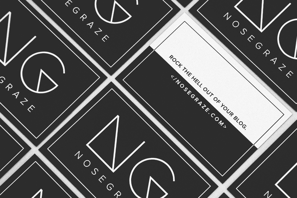 Create business cards that actually mean something nose graze my business cards for nose graze that say rock the hell out of your blog reheart Gallery