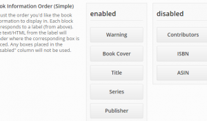 Drag and drop the book info boxes to rearrange them
