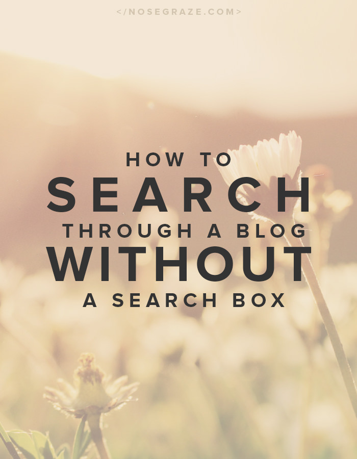 How to search through a blog without a search box