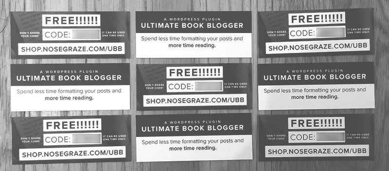 Nine coupon cards for free copies of the Ultimate Book Blogger plugin