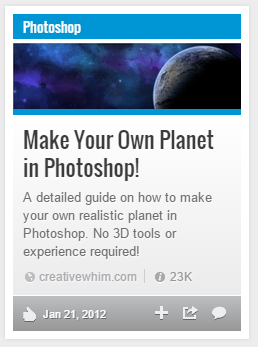 """Make Your Own Planet in Photoshop"" - a StumbleUpon share with 23K ""likes"""
