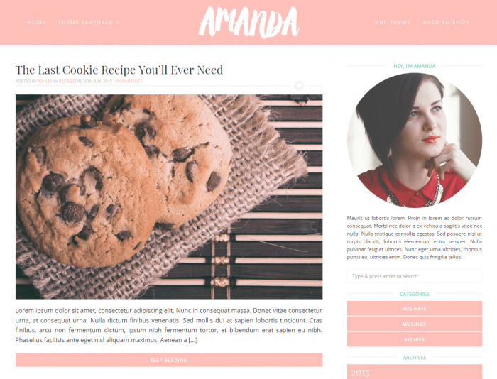 Amanda - A feminine pink theme for WordPress