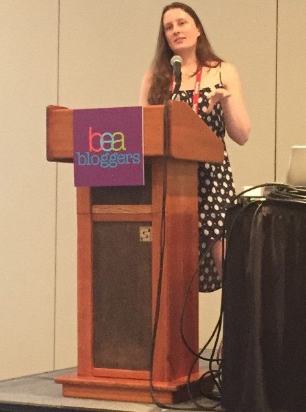 Photo of me speaking at BEA Blogger Con