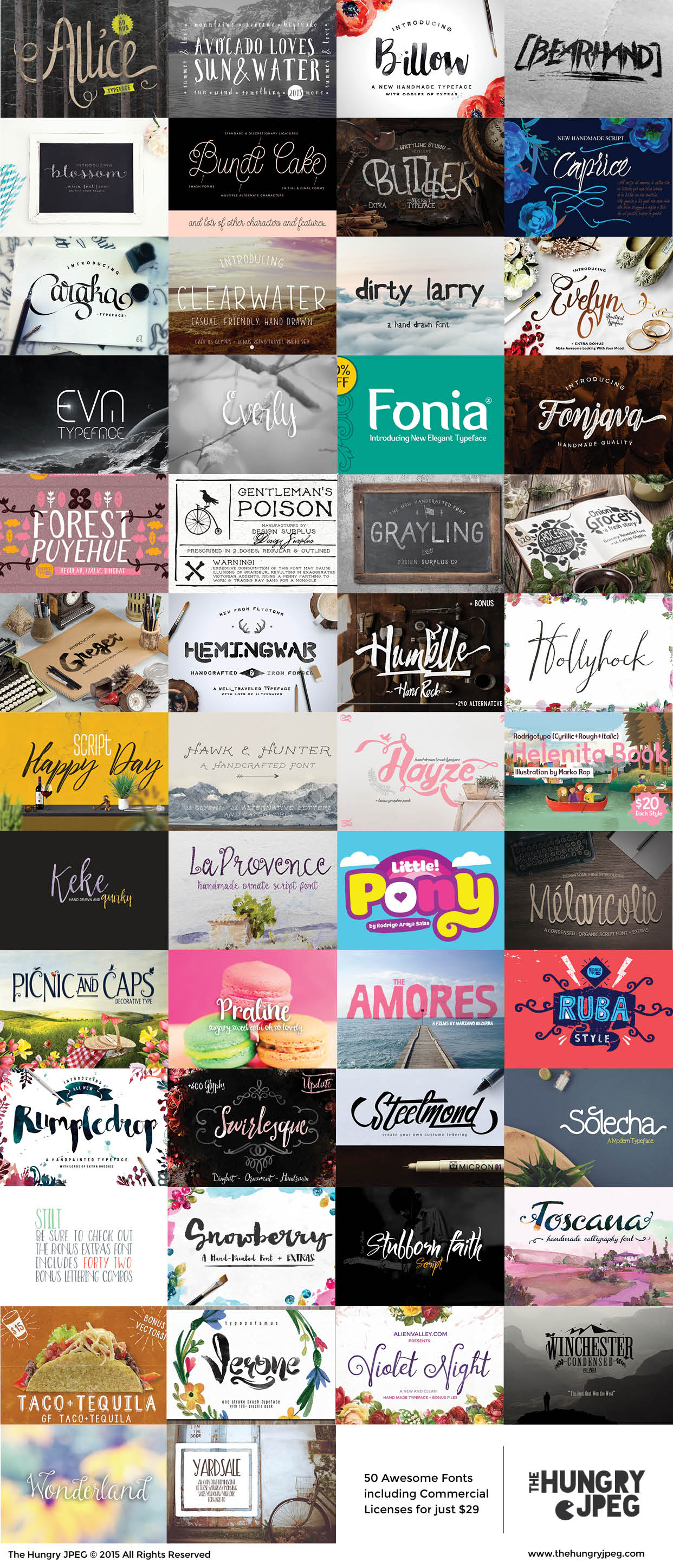 The Big Font Bundle - 50 fonts for only $29 at The Hungry JPEG