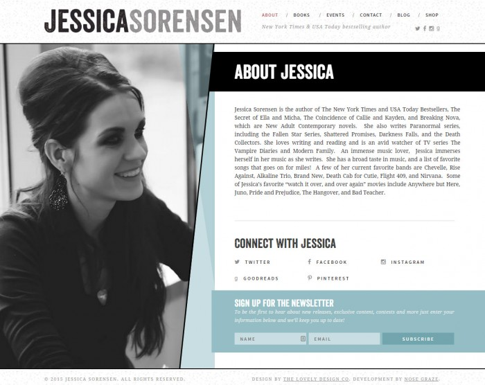 A screenshot of Jessica Sorensen's about page on her website