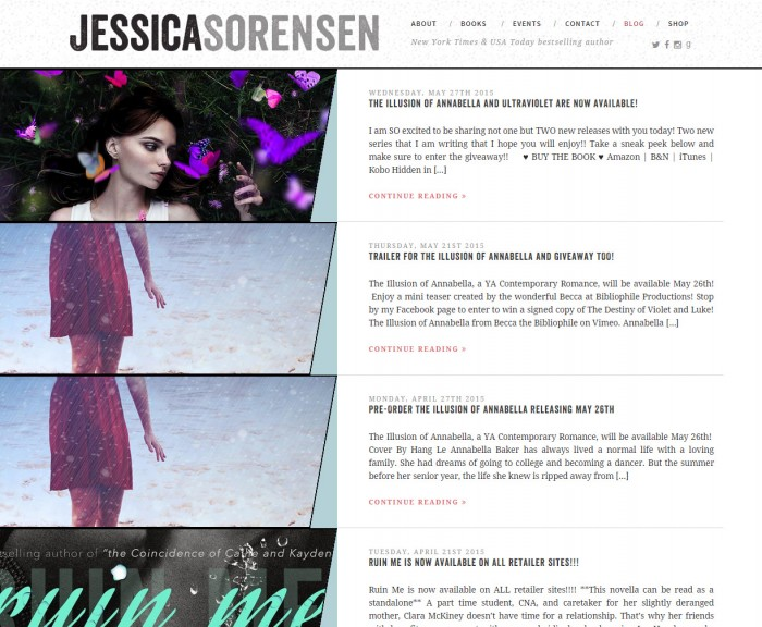 A screenshot of Jessica Sorensen's blog layout, with uniquely angled thumbnails on the left