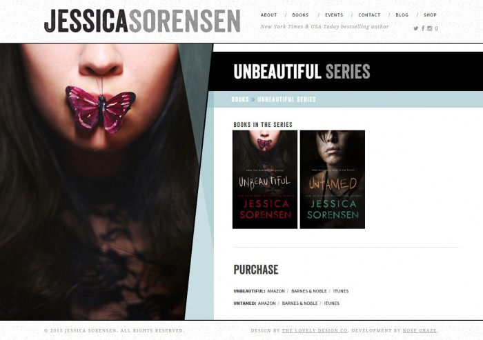 """The page for the """"Unbeautiful Series"""" on Jessica Sorensen's website"""