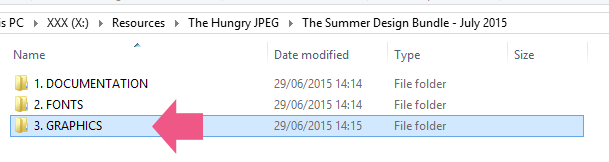 An arrow pointing to the GRAPHICS folder in the Hungry JPEG Bundle
