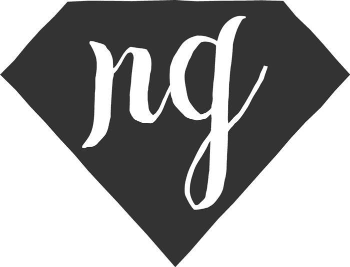 Inverted Nose Graze diamond logo (white text on a grey diamond)