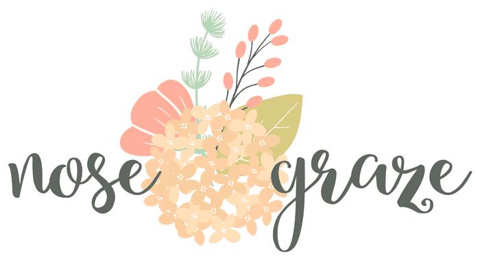 Nose Graze logo with a flower arrangement graphic