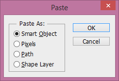 Paste as smart object in Photoshop