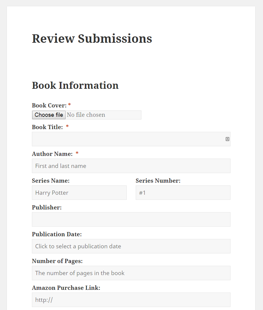A screenshot of the review submission form