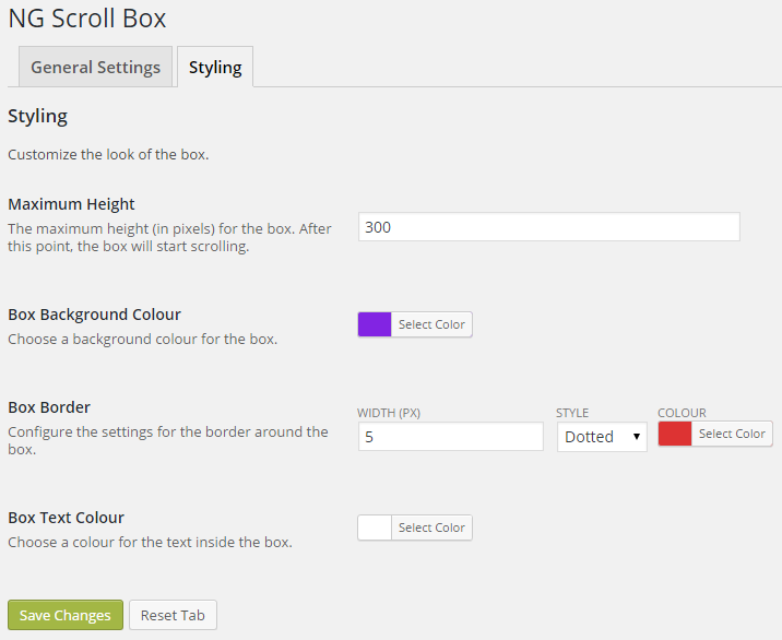 Screenshot of the NG Scroll Box settings panel with styling options