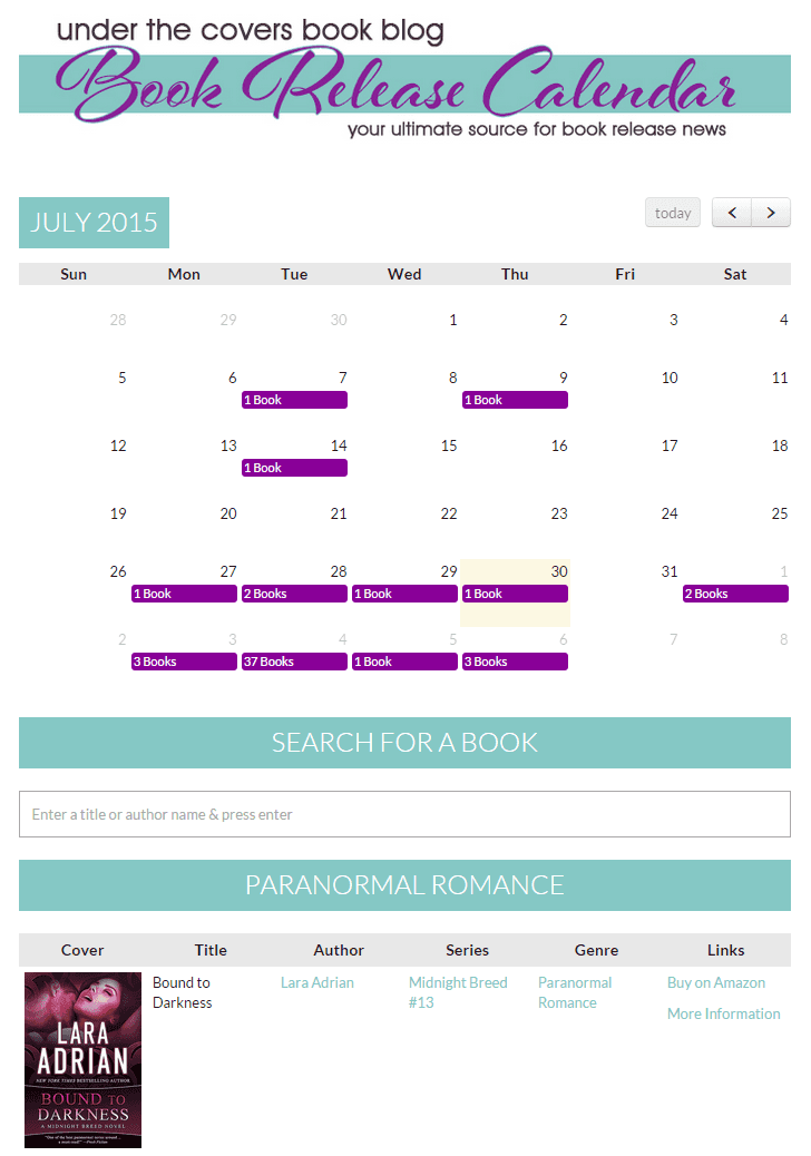 A calendar that shows upcoming book releases