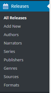"WordPress admin panel menu for ""Releases"""