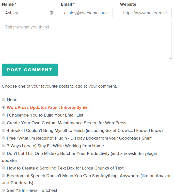 WordPress comment form with a list of your recent blog posts