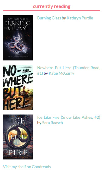 Currently reading shelf on Goodreads - showing book covers and title/author text