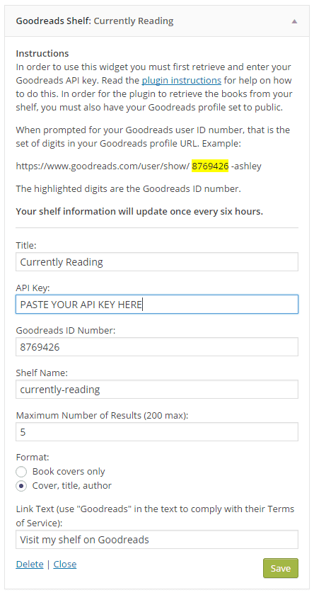 Goodreads shelf widget settings