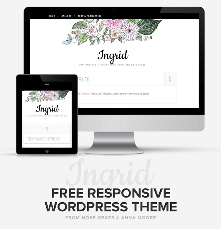 Ingrid: free, flowery, responsive WordPress theme for WordPress