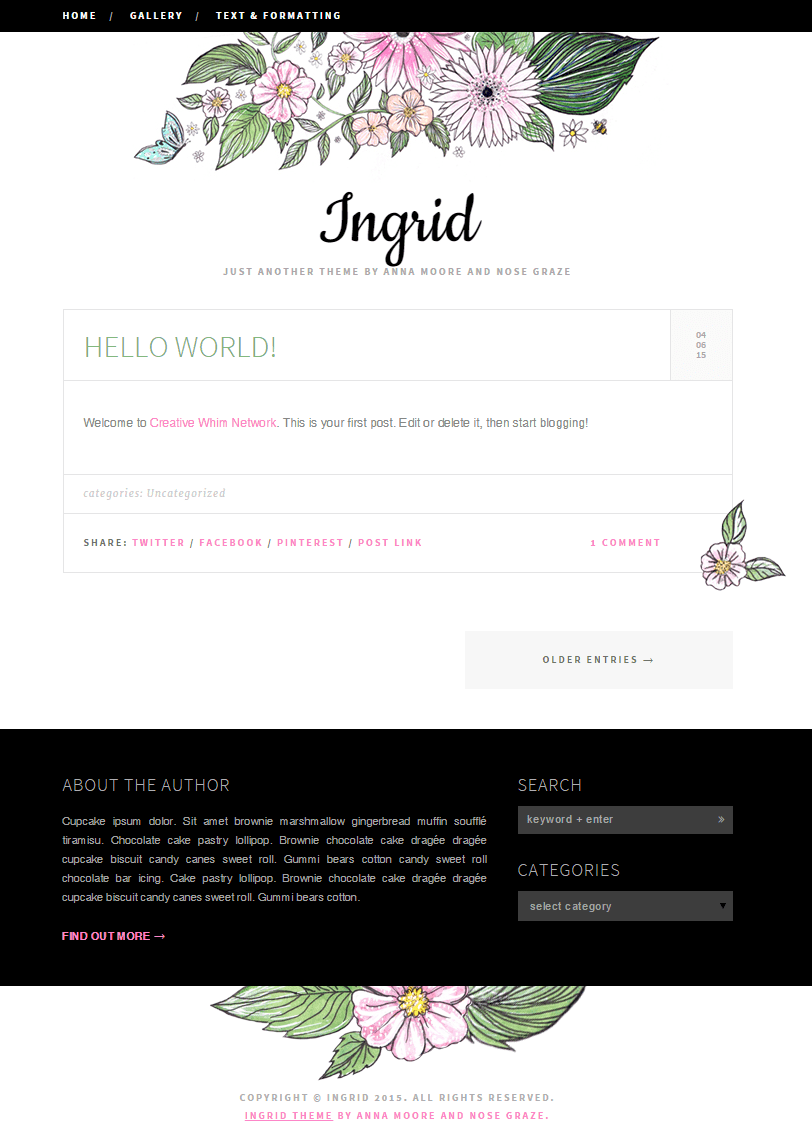 Ingrid - a flowery one-column WordPress theme