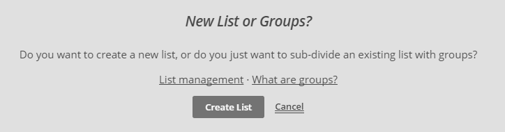 New List or Groups?
